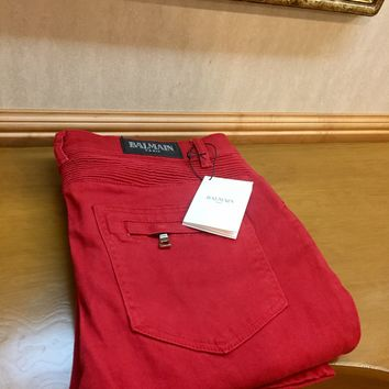 Balmain Jeans 'Size 38' (Deep red color/ frayed treatment!!🔥🔥)