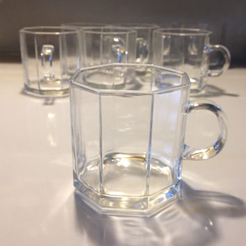 Arcoroc France Clear Octime Tea Mugs Set of 8 Glass Octagonal Vintage Luminarc 7 oz
