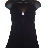 Black Ruffle Chiffon Romantic Rhinestone Bow Tank Top Blouse Womens Clothing Small