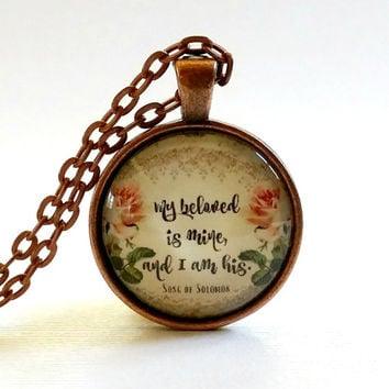My Beloved is Mine | Bible Verse | Glass Necklace | Pendant | Velvet Choker | Key Ring | Song of Solomon | Christian Gift | Jewelry