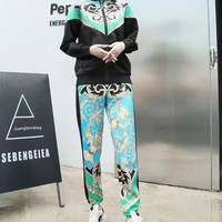 """""""VERSAC"""" Woman Leisure Fashion Letter Positioning Personality Printing Zipper Spell Color Long Sleeve Trousers Two-Piece Set Casual Wear"""