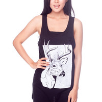 DEER Shirt Reindeer Wildlife Animal Shirts Women Tank Top Black Shirt Tunic Top Vest Sleeveless Women T-Shirt Size S M
