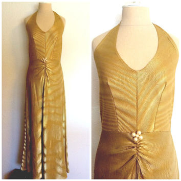 Vintage 70's Dress Halter Maxi Gold Hologram Disco sz S-M