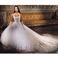 Sexy White Lace Halter Formal Wedding Bridal Gowns Plus Size-Petite SKU-119031