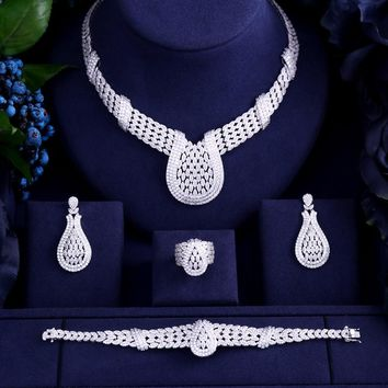 Luxury white gold-color Elegant Shape Bridal cube zircon necklace earring bracelet ring 4pcs  Big Wedding Jewelry Sets For Bride