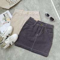 Women'S Fashion Solid Color Denim Skirt