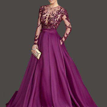 Chiffon Long Purple Princess Prom Dress Long Sleeves Vestido Formal Evening Gowns Beading with Crystal vestidos para festa