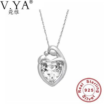 V.YA Fashion Women Crystal Pendants & Necklaces 100% 925 Sterling Silver Jewelry Neklaces Heart Shape Best Gifts for Mom Bijouxs