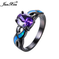 JUNXIN Female Purple Amethyst Oval Ring Black Gold Filled Vintage Wedding Rings For Women Blue Fire Opal Ring Fashion Jewelry