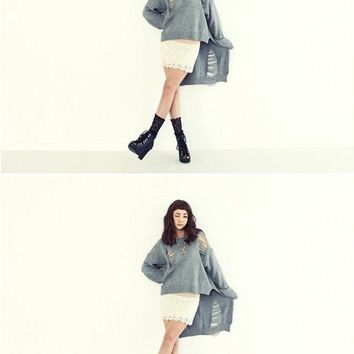 Knitted Women Sweater Solid Punk Novelty Hollow Hole Girl Poncho Jumper