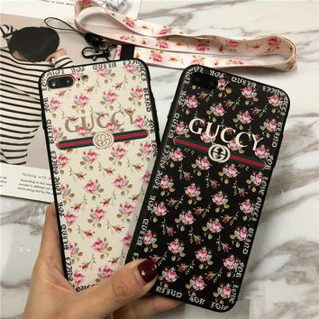 """Gucci"" Women Temperament Fashion Floral iPhoneX/8/6S Phone Soft Edge Hard Shell Apple iPhone7 Plus Phone Case"