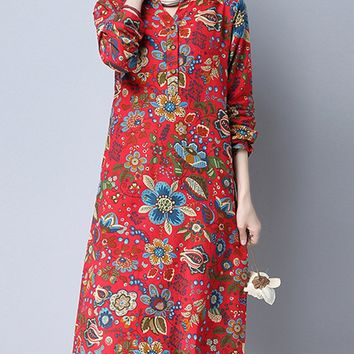 Streetstyle  Casual Henley Collar Floral Blend Maxi Dress