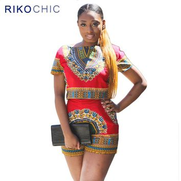 2 Piece Set Women African Dashiki Print Pattern Red Crop Top and Shorts