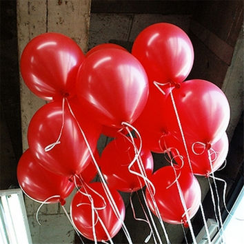 Hot Sale 10pcs/lot 10inch 1.5g Red Latex Balloon Thickening Pearl Celebration Party Wedding Birthday Decoration Helium Air Balls