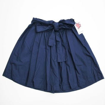 Thakoon Pleated Navy Blue Tie Waist Circle Skater Skirt 1 NWT