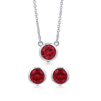 Bezel Set Round Cut Ruby Cubic Zirconia CZ 925 Sterling Silver Solitaire Pendant Necklace And Stud Earrings Matching 2 Pc Set #vs104