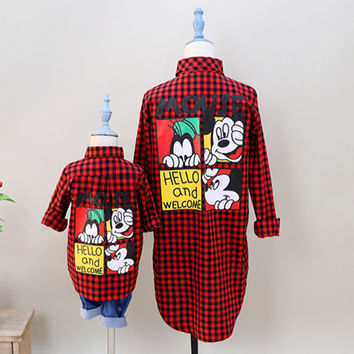Fashion Family Matching Clothes Outfits mom and Girls plaid blouse shirt summer Monther and Daughter kids Family Look clothing