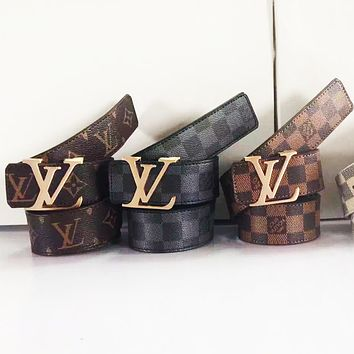 LV Louis Vuitton Fashion Leather Belt Men Women Utility