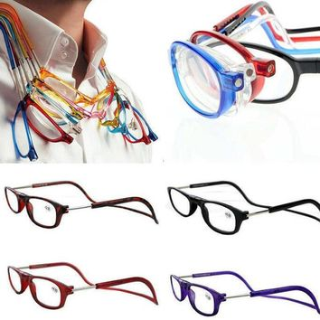 iboode Folding Magnetic Reading Glasses Magnet Men Women Halter Neck Glasses Presbyopic Foldable +1.0 1.5 2.0 2.5 3.0 3.5 4.0