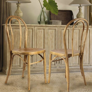 Light Brown Elm Wood Vintage Style Dining Chairs (Set of 2)