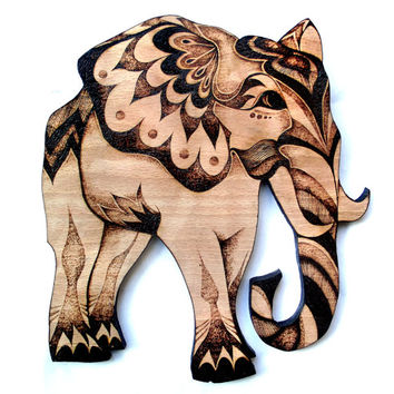 Elephant Wall Hanging, Pyrography (Wood burning) Wood Wall hanging, elephant art, elephant decor, elephant wallhanging, elephant lover gift