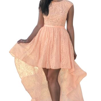 Pink Sweetheart Cutout Back Lace Hi-low Dress