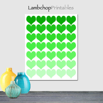 Green ombre hearts, Green Hearts, Heart poster, teen room, love art, Shades of green, Printable wall art, home decor, 8x10, 16x20, poster