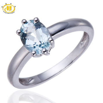 Hutang 1.08ct Natural Aquamarine Solid 925 Sterling Silver Solitaire Ring Gemstone Fine Engagement Wedding Jewelry
