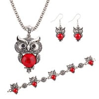Red Pendant Necklace Earring Owl Jewelry Set