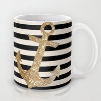 GOLD GLITTER ANCHOR IN BLACK AND NUDE Mug by Colorstudio