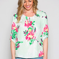 Floral Frenzy Pleated Blouse