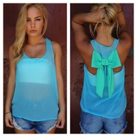 Blue Sheer Sleeveless Top with Mint Bow Back