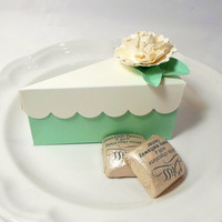 Mint Paper Cake Slice Party Favor Box - Wedding Favors, Shower Favors in Mint and Cream with Handmade Flowers
