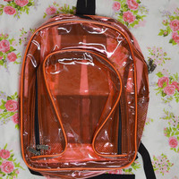 90s Clear Backpack PVC Orange Coral Neon Clubkid Soft Grunge Hipster 1990s Vintage Clothing and Accessories Men Women Book Bag Black