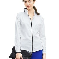 Banana Republic Womens Fitted Non Iron Piped White Shirt