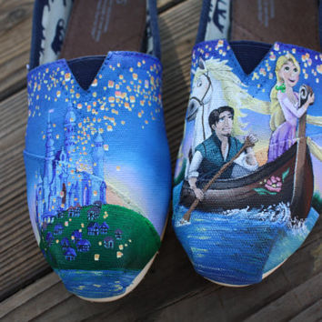 Tangled Disney Original Custom Acrylic Painting for Toms/Canvas Shoes