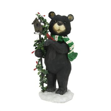 """9.75"""" Black Grizzly Bear with Pine Berry Bird House Christmas Table Top Decoration"""