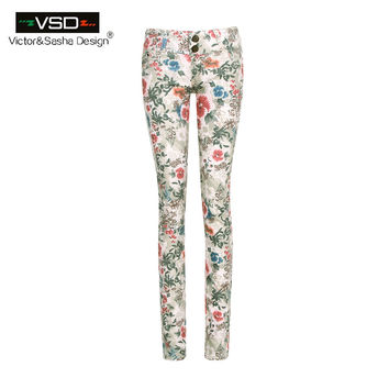2016 Casual Spring Summer Style Women Pants Vintage Slim Floral Mid Waist Cotton Skinny Pencil 3D Floral Flower Print Trousers