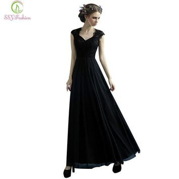 Black Lace Long Evening Dress Mother of the Banquet V-Neck Straight Sexy Party Prom Dress