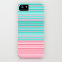 Aqua Pink Ombre Stripe iPhone Case by Dale Keys   Society6