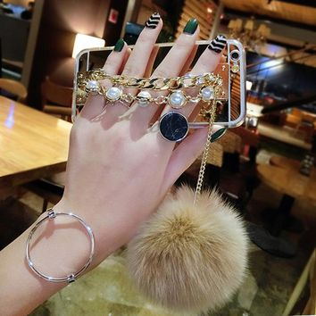 LOVECOM Luxury Phone Case For Iphone 5 5S SE 6 6S Plus 7 Plus Bling Pearl Chain Fur Ball Pom Pom Mirror Soft TPU Back Cover