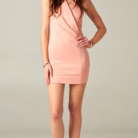 BLUSH WRAP BODYCON DRESS