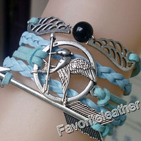 The Hunger Games - Mockingjay inspired unique silver bracelets, bracelets arrows, wings bracelet, blue leather bracelet, fashion jewelry