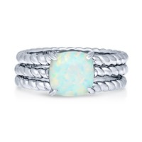Sterling Silver Cushion Simulated Opal CZ Cable Solitaire Ring Set 2.04 CTWBe the first to write a reviewSKU# VR266-02