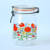 Vintage French 1L Canning Jar From Arcoroc France // Glass Retro Canisters // Flowers Pattern Container Jars