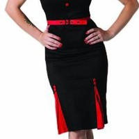 Living Dead Souls Womens/Juniors BELTED SWEETHEART PENCIL DRESS WITH PLEATS