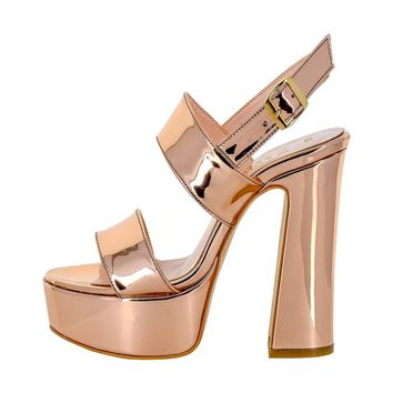 Sand Block Heel Leather Sandals
