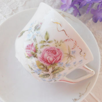 Vintage German Porcelain Tea Cup and Saucer Set, Cottage Style, Tea Parties, Weddings, Antique, Shabby Elegance