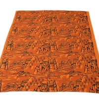Vintage 60s Harwood Steiger Canyon Tablecloth 1960s 1970s Screen Printed Textile Mid Century Fabric Southwestern MCM Home Decor