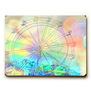 Colorful Ferris Wheel by Artist Lisa Argyropoulos Wood Sign